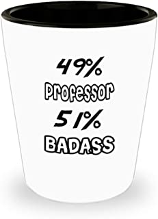 Funny Professor Gifts White Ceramic Shot Glass - 51% BADASS - Best Inspirational Gifts and Sarcasm ak5875