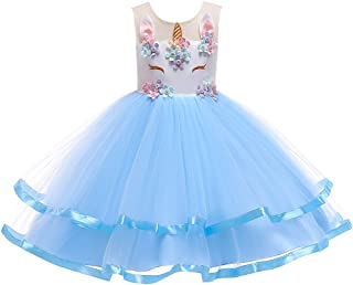 OBEEII Princess Unicorn Costume Little Big Girl Flower Ruffle Tutu Dress Pageant Party Dress Up Cosplay Halloween Christmas