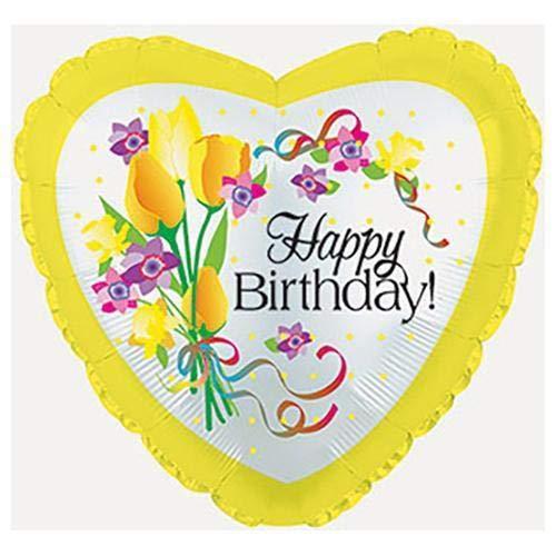 Suki Gifts S9214103 Ballon gonflable en forme de cœur Inscription Happy Birthday Jaune