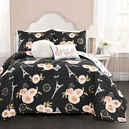 Lush Decor - Juego de Cama Reversible para Cama de Matrimonio, diseño de Mariposas, Color Negro