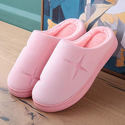 BLMDX Zapatos de casa Suela de Goma Antideslizante, par de Pantuflas de algodón, Zapatos de confinamiento Antideslizantes para el hogar, Pantuflas para el hogar para Hombres y Mujeres-B-1_42-43