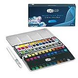 Artina Caja de pintura acuarela Colaro - Set de 36 colores - caja de metal con set de pintura acuarela y pincel de tanque de agua