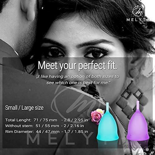 Melyth Menstruationstassen – (2x Groß & 1x Klein) – Kostenlose Faltbar Tragbare Reinigungsbecher – Finde deine Perfekte Passform Beste Alternative zu Tampons und Stoffbinden - 3