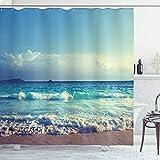 ABAKUHAUS Tropische Insel Duschvorhang, Ozean Seychellen, Waserdichter Stoff mit 12 Haken Set Dekorativer Farbfest Bakterie Resistet, 175 x 200 cm, Türkis Himmel Blau Umbra