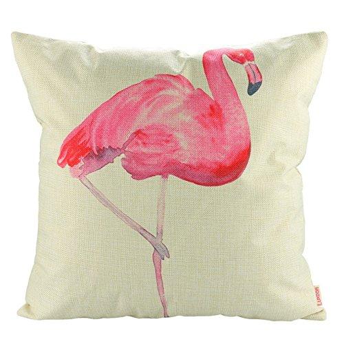 Luxbon Debout Flamants Flamingos Coton Linge Protège Taie d'oreiller Canapé Housse de Coussin Voiture Maison Lit Décor 45x45 cm 18x18 ''