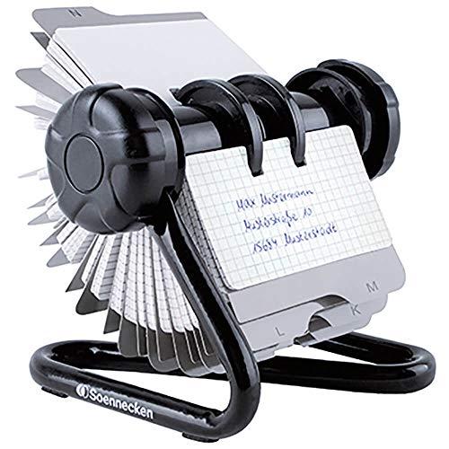 Soennecken Rollkartei für: 240 Karten, Kartengröße: 102 x 56 mm (B x H), Metall, schwarz