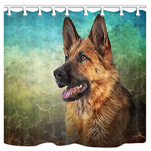 JAWO Animal Shower Curtain, Drawing German Shepherd Dog Bath Curtain, Polyester Fabric Bathroom Shower Curtain with Hooks 36x72Inches, Bathroon Accessories
