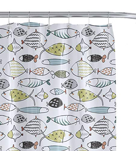 HappyShower Fish Decorative Kids Shower Curtain Set - 72x72in - Colorful Bathroom Decor for Your Child's Bathroom- Premium Polyester Fabric -Colored Fish Drawings -12 Hanging Hooks Included