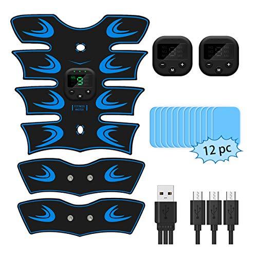 EMS Electroestimulador Muscular Abdominales, Estimulación USB Recargable ABS Trainer para Abdomen/Brazo/Piernas/Cintur (Blue)