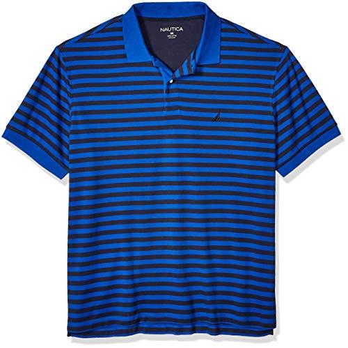 Nautica Men's Big Classic Fit Short Sleeve 100% Cotton Stripe Soft Polo Shirt, Bright Cobalt, LT...