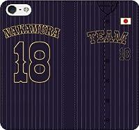 iPhone/Xperia/Galaxy/他機種選択可:好きな番号/名前をカスタマイズ/野球ユニフォーム手帳ケース(デザイン:2_M) 05 iPhone7