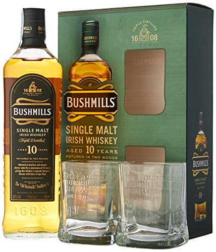 Bushmills Single Malt Irish Whiskey 10 Years Old con paquete regalo, 700 ml