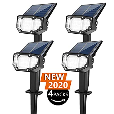 INCX Solar Spotlight Outdoor Landscape Light 19 LED Waterproof with Adjustable Solar Panel and Adjustable Head Bright White Light 2-in-1 Powered Wall Light for Yard Walkway Driveway Garden 4 Pack