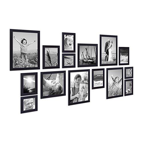 Photolini Juego de 15 Marcos Negros, Modernos, MDF, tamaños 10x10, 10x15, 13x18, 20x20, 20x30 cm, Inc. Accesorios para conformación de un Collage de Marcos/galería de imágenes