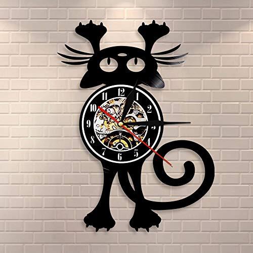 wtnhz LED Colorful vinyl wall clock Cat Wall Clock for Pet OwnerFun Kitten Wall Art Black Cat Vinyl Record Wall Clock Home Decoration Vinyl Record Clock Clock