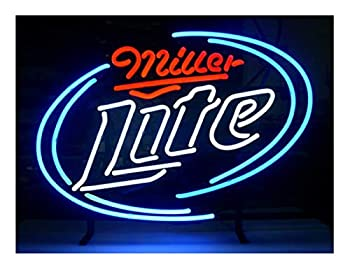 LDGJ Miller Lite Neon Signs Light Sign Home Beer Bar Pub Recreation Room Game Lights Windows Glass Wall Signs Party Birthday Bedroom Bedside Table Decoration Gifts  Not LED