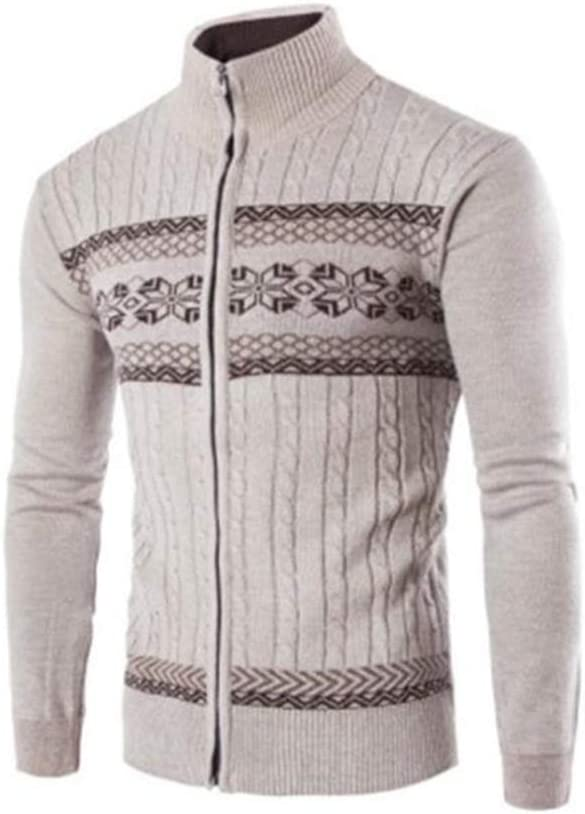 Hzikk Men's Cardigans Sweaters Warm Zipper Turn Down Collar Knitted Sweaters,Beigewhite,M