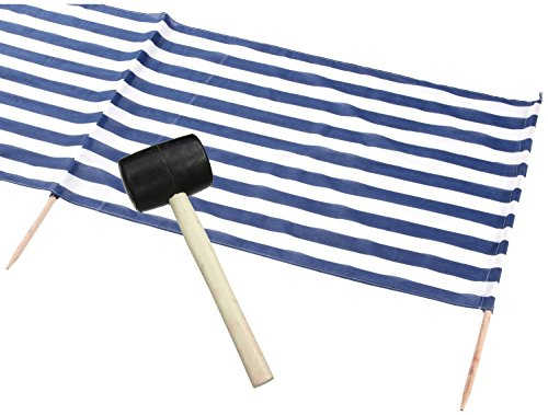 Idena Beach Wind Screen/Windschutz 5 x 0.80 m [ blau/weiß ] gestreift + Gummihammer