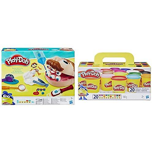 Hasbro Play-Doh B5520EU4 - Dr. Wackelzahn Knete, für fantasievolles und kreatives Spielen & Super Farbenset (20er Pack), Knete für fantasievolles und kreatives Spielen