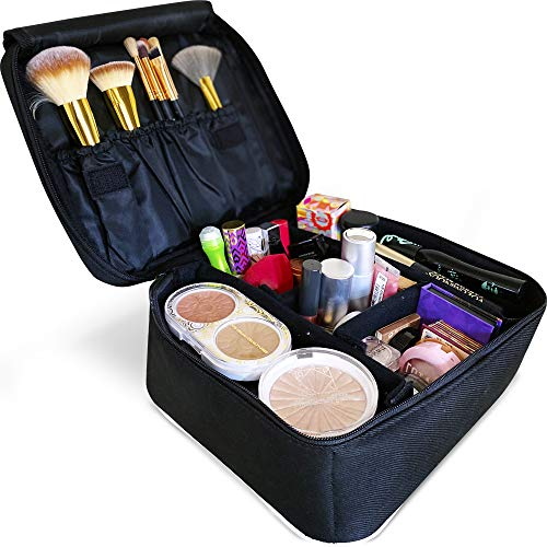 Makeup Case by Eliza Huntley - Makeup Train Case & Toiletry Bag for Women - Portable Cosmetic Case - Makeup Bag With Adjustable Dividers for Makeup Brushes, Jewelry, Toiletries