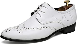 [ジョイジョイ] ビジネスシューズ メンズ レースアップ シューズ 黒 防水 防滑ソール ドレスシューズ 通勤用 紳士靴 歩きやすい オフィス 仕事 ウィングチップ 3cmヒール レトロ 通気性 ローカット 革靴 歩きやすい