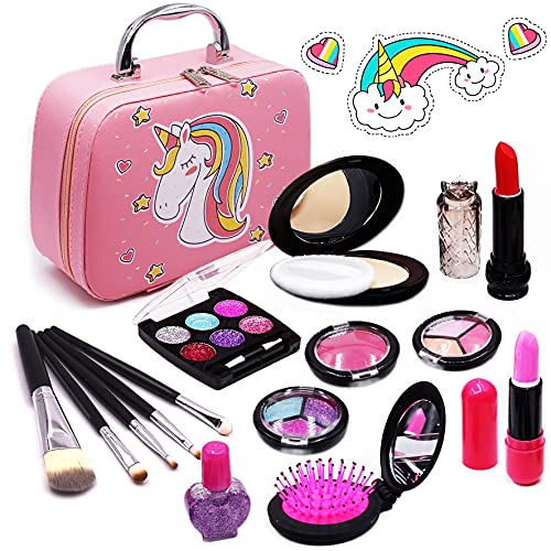 Senrokes Washable Makeup Kit Girls Toy Girls Play Real Makeup Kit, Princess Kids Makeup for Girls / Toddlers, Safe & Non Toxic Beauty Set for 3 4 5 6 7 8 9 10 Year Old Girl Birthday Gifts.
