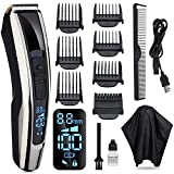 Pamoire Hair Clippers for Men Beard Trimmer Professional Cordless LED Display Clipper Kit