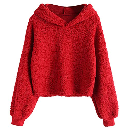 ZAFUL Women's Fuzzy Faux Fur Oversized Pullover Crop Hoodie Sweatshirt (Red, L)