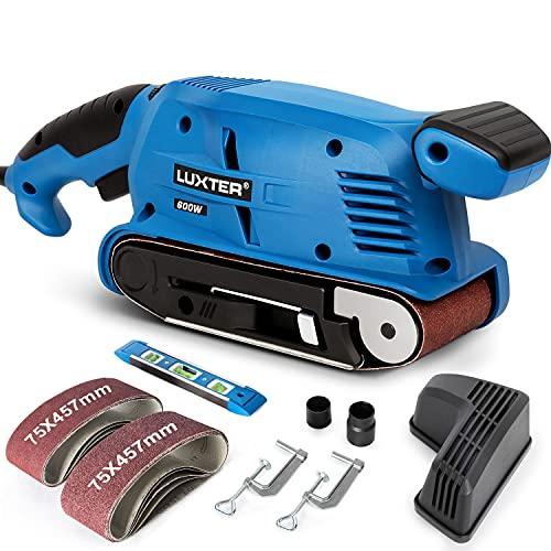 Lijadora de banda Luxter de 600 W, 6 marchas, regulación de velocidad, 10 unidades de papel de lija (75 x 457 mm), 2 metros de cable, recogedor de polvo, 2 adaptadores de aspiradora, 2 abrazaderas