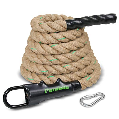 Perantlb Outdoor Climbing Rope with Heavy-Duty Metal eyehookfor Fitness and Strength Training, Workout Gym Climbing Rope, 1.5'' in Diameter, Length Available: 8,10, 15, 20, 25, 30,40, 50 Feet… (15ft)…
