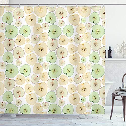 ABAKUHAUS Apfel Duschvorhang, Früchte schneiden in halbe Samen, mit 12 Ringe Set Wasserdicht Stielvoll Modern Farbfest & Schimmel Resistent, 175x180 cm, Mehrfarbig