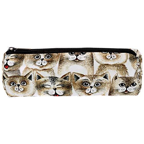 Estuche con diseño de cabeza de gato retro, color marrón, con cremallera, organizador de monedas, bolsa de papelería, bolsa de maquillaje, bolsa de cosméticos para mujeres, adolescentes, niñas y niños