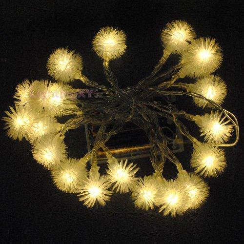 JnDee™ Guirlande lumineuse à 40 LED blanches chaudes en forme de boules, alimentée par piles, 4 m, fonction marche/arrêt/flash, parfaite pour Noël, mariages et fêtes