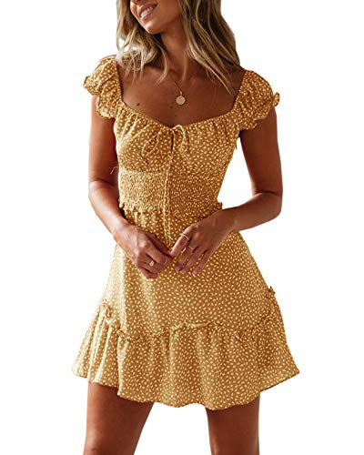 Valphsio Womens Smocked Dress Ruffle Floral Tie Front Boho Short Dresses (Large, Yellow)