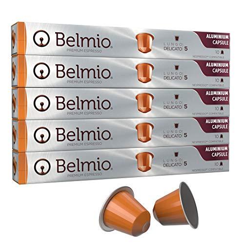 Belmio Lungo Delicato Aluminum Coffee Capsules, Intensity 5, 50 (5 x 10) Capsules, Nespresso Compatible Coffee Pods, Premium Coffee