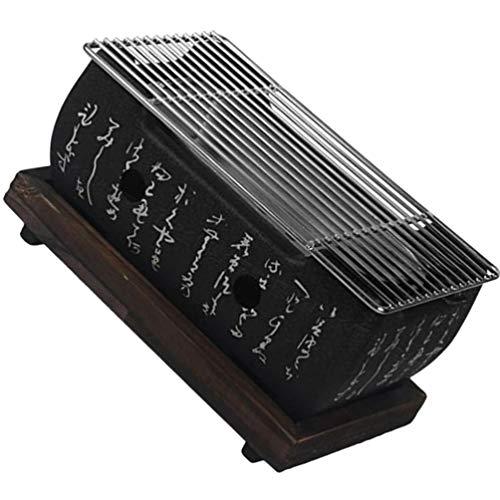 YARNOW Japanischer Stil Grill Shichirin Hida Konro Grill Outdoor Raucher Grill Kochherd Rost Werkzeuge Zubehör 24X13cm