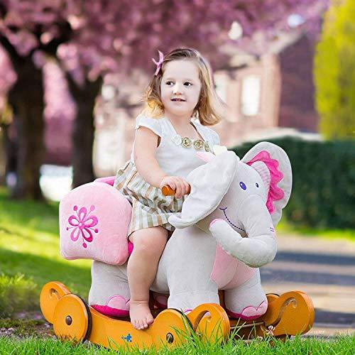 Labebe Baby Schaukelpferd Holz mit Räder, 2-in-1 Schaukelpferd Elefant&Schaukelpferd Rosa für Baby 1-3 Jahre Alt, Kleinkind Schaukel Baby/Schaukelpferd Pink/Spielzeug Schaukel/Schaukeltier Musik - 3