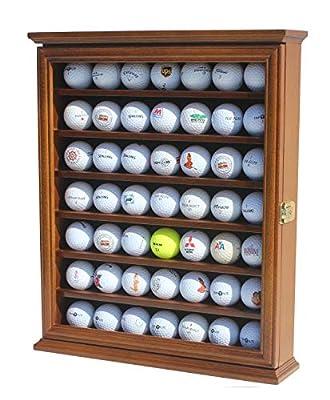 49 Golf Ball Display Case Cabinet Wall Rack Holder w/98% UV Protection Lockable (Walnut Finish)