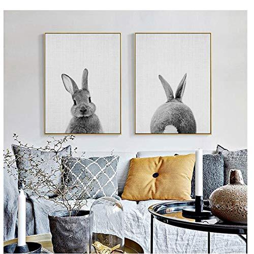 YIYAOFBH Drucke und Poster Bunny Rabbit Woodlands Kinderzimmer Dekor Tierbild Kaninchen Wandkunst Drucke Moderne Babyzimmer Dekoration 30x50 cm / 11,8