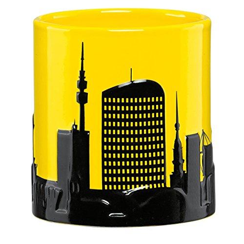 Borussia Dortmund Porzellantasse / Tasse / Kaffeepott - Skyline 3D-Effekt BVB 09 - plus gratis Aufkleber forever Dortmund