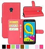 HualuBro Alcatel U5 3G Hülle, Leder Brieftasche Etui Tasche Schutzhülle HandyHülle [Standfunktion] Leather Wallet Flip Hülle Cover für Alcatel U5 3G (Rot)