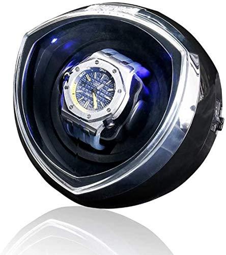 時計ワインダー-LED照明付き1つの時計用4つの異なる回転プログラムコンパクトなフットプリントウィスパー-プログラムブラックスイッチによる静かなモーター選択-ブラック iteration