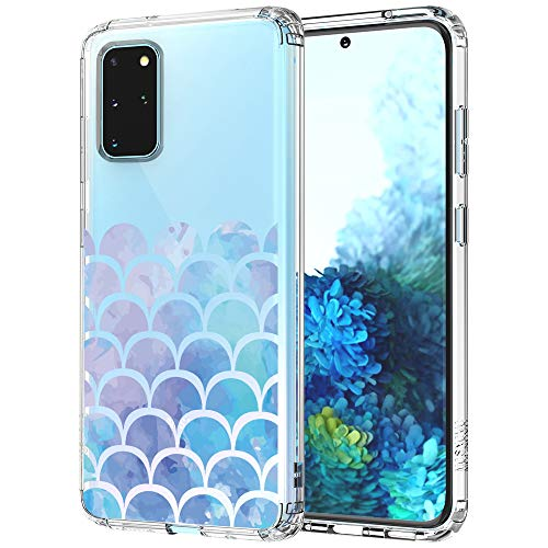MOSNOVO Galaxy S20 Plus Case, Mermaid Tail Pattern Clear Design Transparent Plastic Hard Back Case with TPU Bumper Protective Case Cover for Samsung Galaxy S20 Plus
