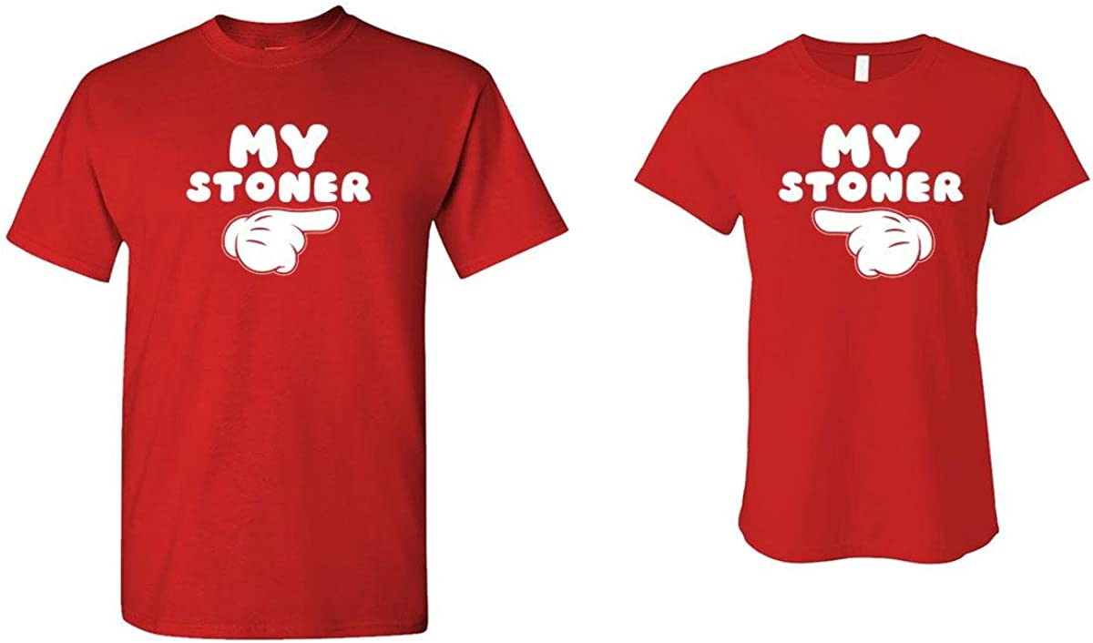 My Stoner - Weed Pot - HIS & HER T-Shirt Combo, 3XL Left, MED Right, Red