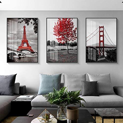YRWL Pinturas en Lienzo Puente Golden Gate Cuadros de Arte de Pared Árbol Rojo Negro Blanco Torre de París Carteles e Impresiones para la decoración de la Sala de estar-40x60cmx3 Sin Marco