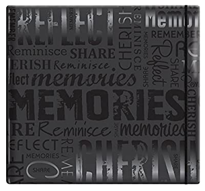"""MBI by MCS Embossed Gloss Expressions 12-Inch by 12-Inch Page Top Load Scrapbook, Brown, Embossed """"Memories"""", 13.2 x 12.5 Overall"""