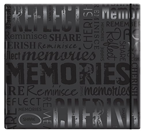 MCS MBI 13.5x12.5 Inch Embossed Gloss Expressions Scrapbook Album with 12x12 Inch Pages, Black, Embossed 'Memories' (848121)