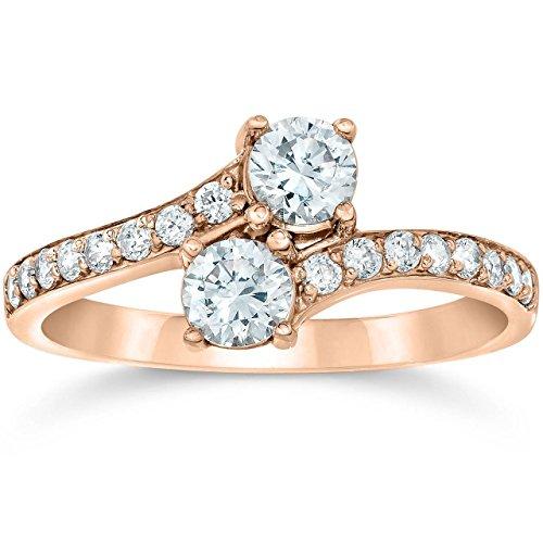 1 Carat Forever Us 2-Stone Diamond Engagement Ring 14K Rose Gold - Size 6.5