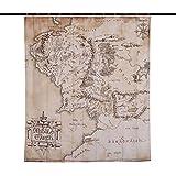 Elbenwald Herr der Ringe Duschvorhang Mittelerde Karte Wand Banner 180x200cm beige