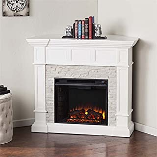 BOWERY HILL Corner Electric Fireplace in White